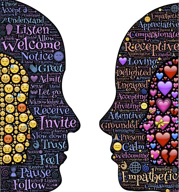 A stylized graphic showing two heads talking about listening and empathy.